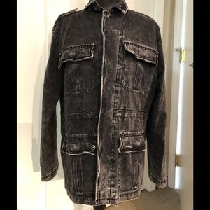 Black Distressed Long Denim Jacket